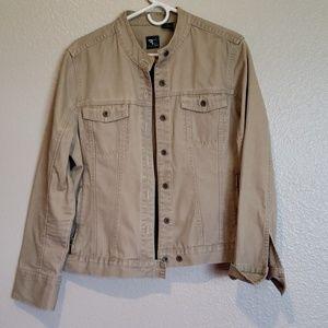 French Cuff Khaki Mandarin Collar Demin Jacket